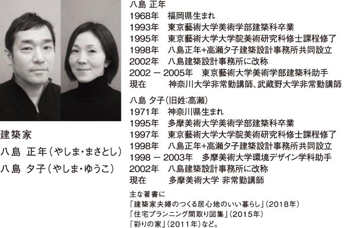 屋根コン2019審査員 建築家 八島 正年(やしま・まさとし) 八島 夕子(やしま・ゆうこ)